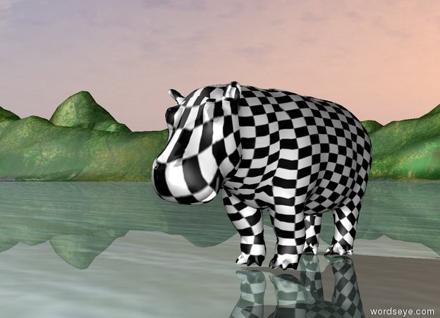 Input text: The [checkerboard] image is on the hippo.