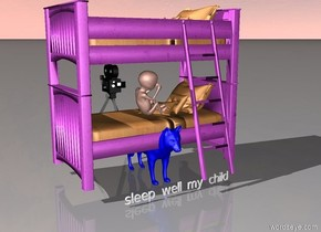 "the blue wolf is -2 feet under the purple bed. the giant baby is 0.01 feet above the blue wolf. the baby is leaning. the baby is facing right.there is a tiny ""sleep well my child"" in front of the blue wolf. there is a movie camera behind the bed. the movie camera is 4 feet tall"