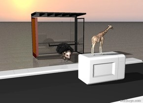 The extremely small giraffe is on the big white microwave. the ground is sand. the giraffe is facing right. the bus stop is 10 feet behind the microwave. the street is under the microwave. the street is facing right. the very big hedgehog is 7 feet behind the microwave