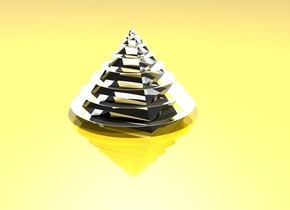 the shiny ground is gold. the sky is white.  the first silver sphere is flat. it faces up. the transparent pyramid is 0.5 inches in the first sphere. the first sphere is 6 inches tall. the pyramid is 4 inches tall. the second silver  sphere is flat. it faces up. it is 5 inches tall. it is 0.5 inches above the first sphere. the third silver  sphere is flat. it faces up. it is 4 inches tall. it is 0.5 inches above the second sphere. the fourth silver  sphere is flat. it faces up. it is 3 inches tall. it is 0.45 inches above the third sphere. the fifth silver  sphere is flat. it faces up. it is 2 inches tall. it is 0.4 inches above the fourth sphere. the sixth silver  sphere is flat. it faces up. it is 1.3 inches tall. it is 0.3 inches above the fifth sphere. the seventh silver  sphere is flat. it faces up. it is 0.7 inches tall. it is 0.25 inches above the sixth sphere. the light is above the pyramid.