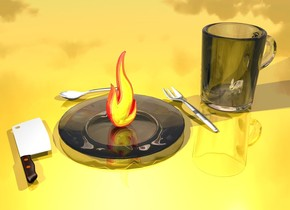 the ground is gold. the chrome rabbit is 2 feet tall. the transparent mug is 10 feet tall. the rabbit is 0 feet in the mug. the mug is facing to the left. the rabbit is facing to the left. the transparent plate is 4 feet to the left of the mug. the plate is 15 feet long. the shiny fire is 0 feet in the plate. the fire is 9 feet tall. the fork is 1 feet to the right of the plate. the knife is 1 feet to the left of the plate. the knife is 12 feet long. the fork is 12 feet long. the knife is facing to the left. the knife is facing up. the light is 0 feet in the fire. the spoon is facing to the right. the spoon is 1.5 feet behind the plate. the spoon is 10 feet long.