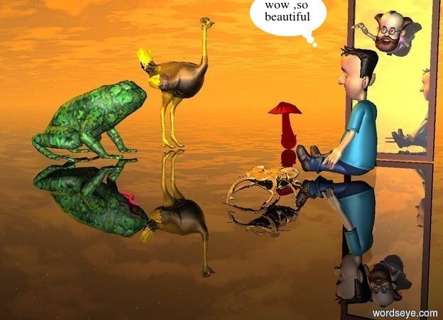 Input text:  a man.a 10 feet tall mirror.the man is 5 feet in the mirror.a boy is 6 feet in front of the mirror.a 4 feet tall frog is 8 feet left of the boy.the boy is facing the frog.the frog is facing the mirror.the frog is texture.a bird is 2 feet behind the frog.the bird is facing the mirror.the bird is gold.a beetle is 3 feet in front of the boy.the beetle is 1 feet tall.a worm is 2 inches in front of the beetle.the worm is 2 inches tall.the worm is facing the frog.a mushroom is 1 feet behind the bird.the mushroom is 3 feet tall.the mushroom is 2 feet right of the bird.the mushroom is red.the worm is 1 feet left of the beetle.the ground is invisible.the beetle is silver.the sun is orange.a purple light is beneath the frog.