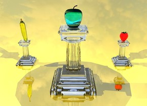 the third pedestal is transparent. the ground is gold. the huge cyan translucent Apple is on top of the pedestal. the light is above the apple. the first small transparent pedestal is 3 feet to the right and 2 feet to the back of the pedestal. the second small transparent pedestal is 3 feet to the left and 2 feet to the back of the third pedestal. the 1.2 feet tall translucent super red strawberry is on top of the first pedestal. the 1 feet tall translucent yellow banana is on top of the second pedestal. the banana is facing down