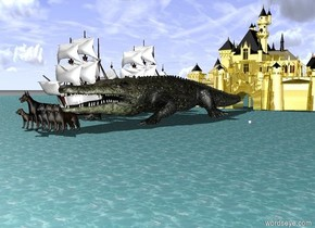 It's the ocean. White galleons are on the left of the enormous crocodile. Golden castle is behind the crocodile. 7 giant dark dogs are in front of the crocodile.