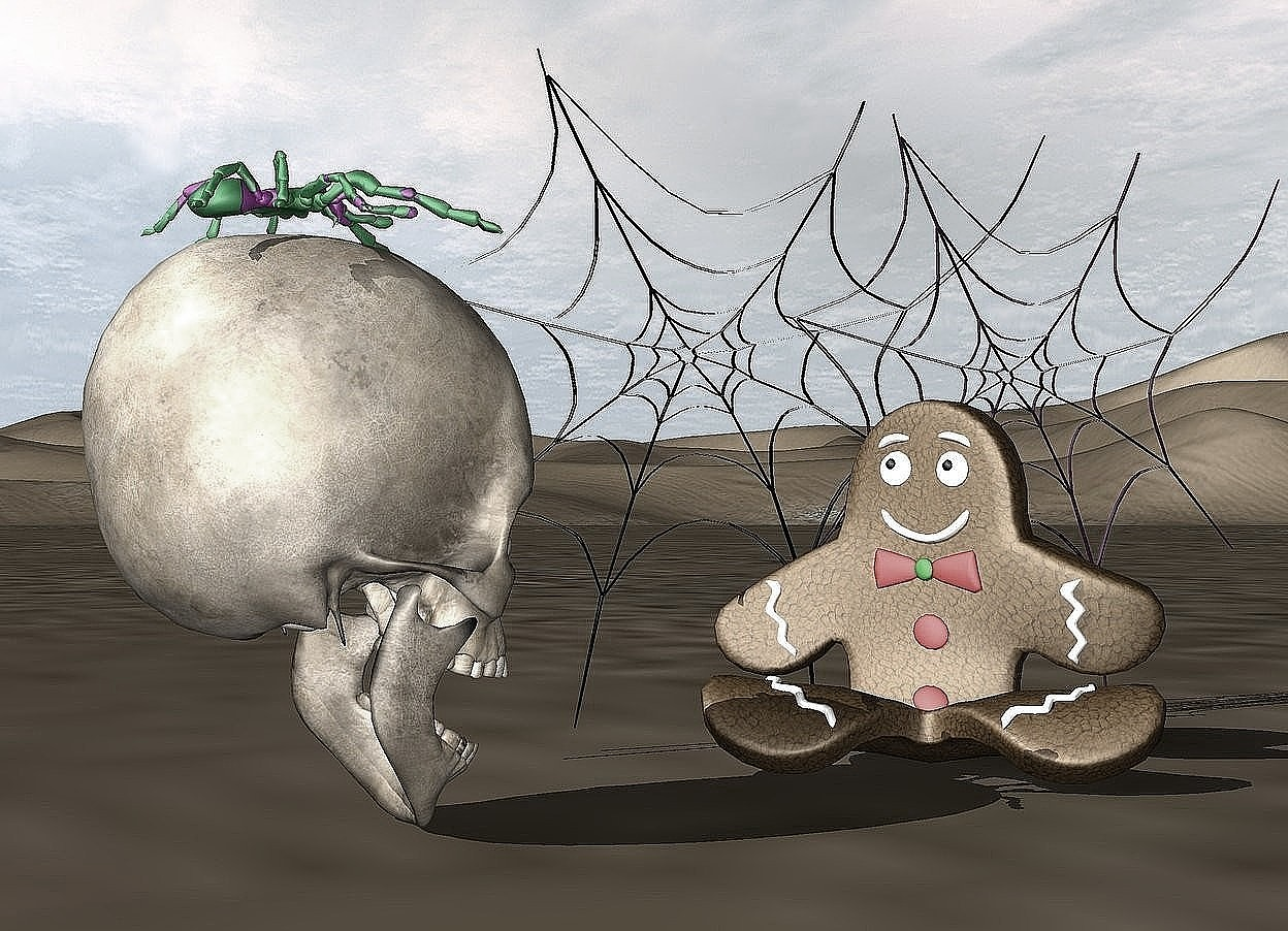 Input text:   the skull is facing the gingerbread man. the gingerbread man is facing southwest.  The large black spider web is behind the gingerbread man. a large purple spider web is -9 inches right of the black spider web.  the polka dot spider is in the skull.