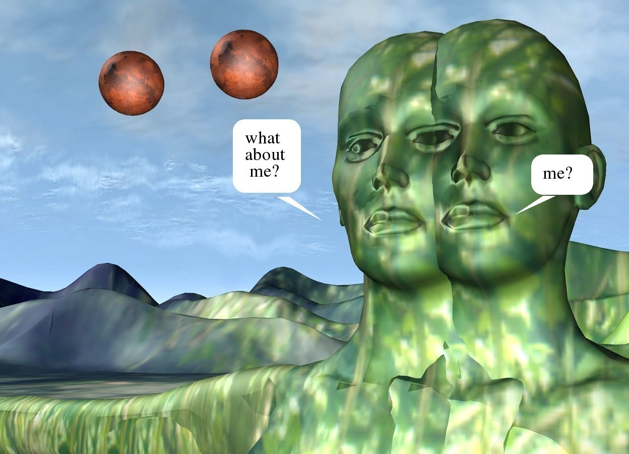 Input text: the [green] woman is -5.8 feet to the right of the [green] woman. the tall [green] ground. the mars is 15 feet behind and 6 feet to the left of the woman. it is 12 feet above the ground. another mars is 2 feet to the left of the mars.