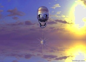 There is a transparent skull on the transparent north star. the star is 100 feet above the ground. the ground is silver.