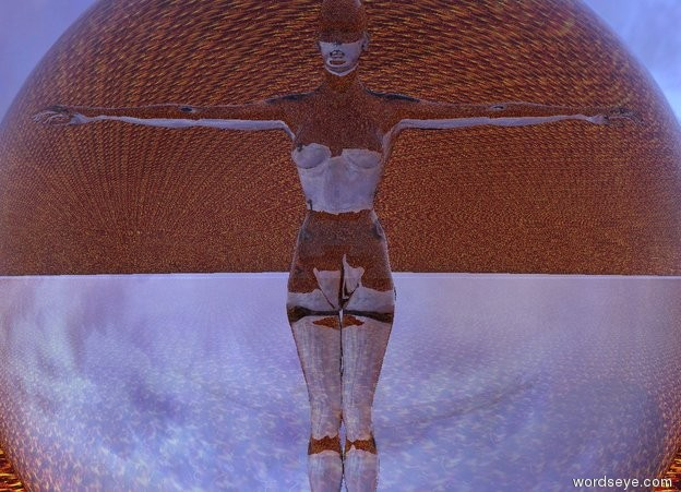 Input text: There is a transparent woman 8 feet inside an enormous transparent sphere. the ground is texture.