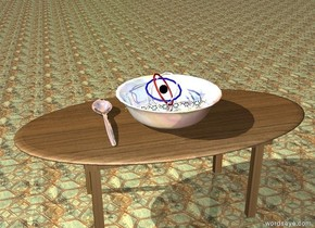 8 extremely enormous molecules are in the giant glass bowl. a small atom is behind the molecules. the bowl is on the table. the table has a wood texture. the ground has a tile texture. the huge silver spoon is next to the bowl.