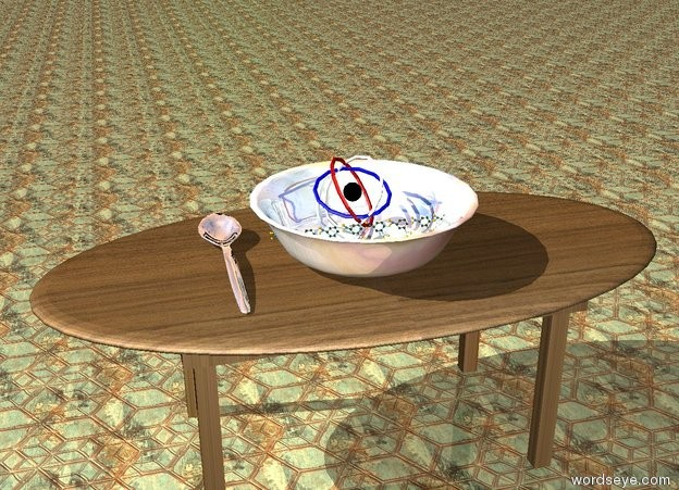 Input text:  8 extremely enormous molecules are in the giant glass bowl. a small atom is behind the molecules. the bowl is on the table. the table has a wood texture. the ground has a tile texture. the huge silver spoon is next to the bowl.