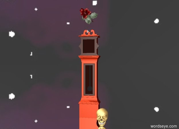 Input text: The ground is reflective black . The [image-9251] sky. There is a big bright clock.   There is a extremely big rose .5 feet above the clock. The rose is leaning 90 degrees to the front. There is a big skull to the right of the rose.  The skull is on the ground. The skull is -.2 feet in front of the rose. The skull is facing south.