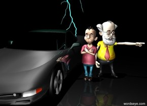 it is night. car is dark gray. car is shiny. 20 foot tall cyan lightning bolt is behind car.  light is 30 feet above car. ground is  dull. second light is inside car. ground is black. a boy is right of the car. the boy's shirt is crimson. the professor is behind the boy. the professor is -0.5 feet to the right. the professor's shirt is [yellow]. the professor's tie is [red]. the professor's beard is white. the professor's hair is white. the professor's moustache is white.