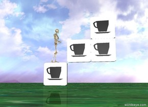 Coffee is on top of the 2nd coffee. 3rd coffee is next to the 2nd coffee. coffee is on the left of the 4th coffee. 2nd coffee is on the right of the 4th coffee. 3rd coffee is under the 4th coffee. the ground is texture. there is a small skeleton on the 3rd coffee. the skeleton is facing east.