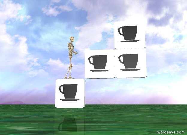 Input text: Coffee is on top of the 2nd coffee. 3rd coffee is next to the 2nd coffee. coffee is on the left of the 4th coffee. 2nd coffee is on the right of the 4th coffee. 3rd coffee is under the 4th coffee. the ground is texture. there is a small skeleton on the 3rd coffee. the skeleton is facing east.