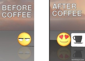 An emoji. there is a wall 2 feet on the right of the emoji. the wall is facing the emoji. there is a 2nd emoji 30 centimeters on the right of the wall. there is a coffee on the right of the emoji.