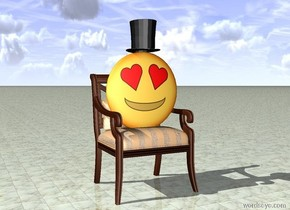 Emoji is on a chair. A hat is on the emoji. the ground is tile.