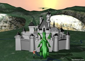 there is a castle.the castle is gray and black.there is a dragon above the castle.there is a big dragon.the dragon is in front of the castle. the dragon faces the castle.there is a big person.the person faces the dragon.the person is next to the dragon.there is a knight
