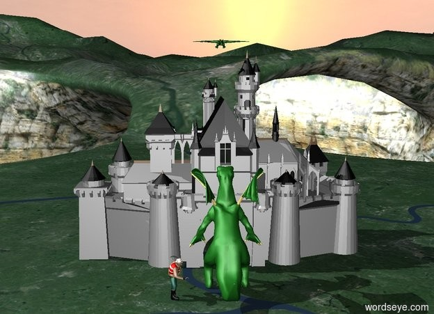 Input text: there is a castle.the castle is gray and black.there is a dragon above the castle.there is a big dragon.the dragon is in front of the castle. the dragon faces the castle.there is a big person.the person faces the dragon.the person is next to the dragon.there is a knight