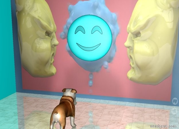 Input text: the aqua emoji is in front of the first [blob] wall. the first wall is 10 feet wide. the emoji is 2.6 feet tall. it is 2.3 feet above the ground. the ground is shiny tile. a second aqua wall is to the left of the wall. it is facing right. the dog is 3 feet in front of the first wall. it is facing the first wall.
