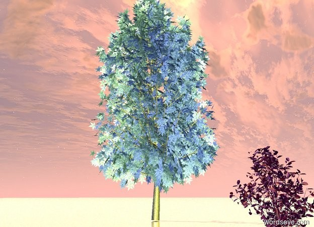 Input text: The ground is silver sand. There is an extremely giant purple flower. There is a yellow light 23 feet in front of the flower. There is a huge blue gray tree 35 feet behind and 4 feet to the left of the flower.
