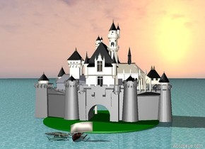 castle. the ground is water. there is a boat far in front of the castle.there is a very gigantic green circle  under the castle.there is an alligator next to the boat. there is a cardinal on top of the castle. the alligator is facing the boat.  hammerhead shark next to the boat. the shark faces the boat.shark