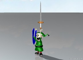 A slightly small sword on a green elf.  a blue shield slightly to the left of the green elf.  The blue shield is facing left.  The blue shield is a foot off the ground.