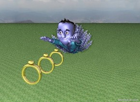 A blue man is underneath a small blue bush in the air.  a very huge golden ring in front of the blue man.  a very huge golden ring a foot in front of the very huge ring.  a very huge golden ring a foot in front of the very huge ring.  the ground is grass.