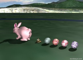 The pink rabbit. A [pattern] egg is on the ground. It is 8 inches behind the rabbit. A [pattern] egg is on the ground. It is 12 inches behind the rabbit. A [checked] egg is on the ground. It is 16 inches behind the rabbit. A [pattern] egg is on the ground. It is 20 inches behind the rabbit.  The poop is on the ground. It is 3.5 inches behind the rabbit. It is two inches tall. It is facing east.