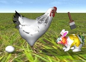 the [easter] bunny is facing the chicken. the chicken is facing the bunny. the ground is grass. the egg is to the left of the chicken. the brush above the rabbit. it is leaning toward the chicken.