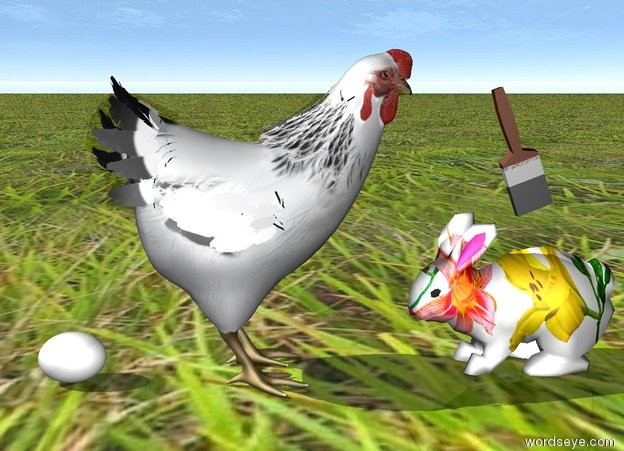 Input text: the [easter] bunny is facing the chicken. the chicken is facing the bunny. the ground is grass. the egg is to the left of the chicken. the brush above the rabbit. it is leaning toward the chicken.