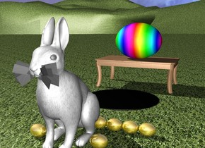 There is a huge white rabbit. the ground is grass. There is a large gold egg on the left of the rabbit.there are 5 large gold eggs a foot behind the egg. there is a large gold egg on the right of the rabbit. there are 5 large gold eggs a foot behind the egg.there is a large black circle 2 feet behind the rabbit.There is a table behind the black circle. There is an enormous rainbow egg on the table.