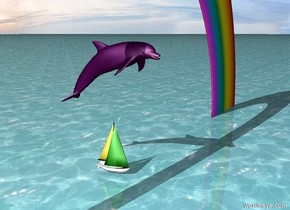 the purple creature is one foot above the tiny boat. the tiny boat is on the ground. the ground is water. the small rainbow is on the ground over the boat.