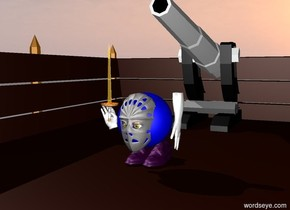 A blue sphere.  A iron mask.  Two yellow eyes.  two purple shoes.   The iron mask is -10 centimeters in front of the blue sphere.  The two yellow eyes are -7 centimeters in front of the iron mask.  the two yellow eyes are 32 inches off the ground.  The two purple shoes are beneath the blue sphere.  a small white hand is to the right of the blue sphere.  a hand is to the left of the blue sphere.  the hand is 30 inches off the ground.  the hand is leaning right.  A small golden sword is -5 inches above the hand.  a boat.  the two purple shoes are on the boat.  a large cannon behind the two purple shoes.