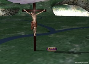 jesus is next to a big purple hot dog
