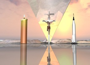 there is an very enormous upside-down shiny [jesus] pyramid. a white jesus is in front of the pyramid. an 10 foot tall candle is 5 feet left of jesus. A 10 foot tall rocket is 5 feet right of jesus. the ground is shiny.