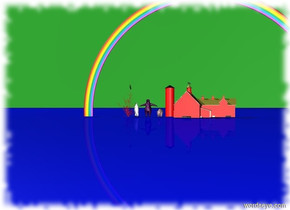 The sky is green. The ground is blue. There is a parrot on top of a red tree. To the right of the tree is a large penguin. To the right of the penguin is a purple polar bear. To the right of the polar bear is a large pig. To the right of the pig is a small red barn. There is a rainbow in the red barn