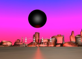 the sky is rainbow. There is a humongous black sphere 20 feet over the ground. there are four big skeletons 10 feet to the left of the sphere on the ground. The skeletons are facing east. The sphere emits red light.