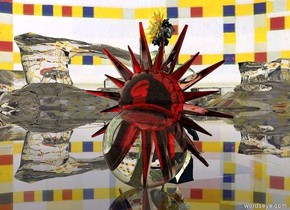 the large clear red star is inside the huge clear sphere.  the sky is mondrian. the ground is clear. the 9 foot tall shiny sunflower is behind the star.