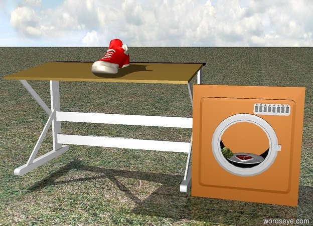 Input text: There is a small washing machine. Inside the washing machine is a tiny steak. Next to the steak is a tiny lettuce. The steak and lettuce are on a small plate. Next to the washing machine is a small table. On the table is a sneaker. The ground is green grass.
