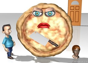 The large pizza is on the rainbow ground. The pizza is leaning 90 degrees to the south. The large knife is in front of the pizza. the knife is 20 centimeters above the ground. the knife is leaning 45 degrees to the northwest. there is a pair of huge eyes in front of the pizza. the eyes are 25 centimeters above the knife. there is a huge mouth behind the knife. the mouth is above the knife. there is a small boy to the left of the pizza. the boy is facing the knife. there is a head on the ground to the right of the pizza. the ground is white. the sky is white. there is a door 20 feet behind the head. the door is two feet to the right.