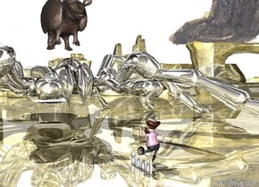 the spider is next to the man. the spider is facing the man. the ground is gold. the spider is 20 feet tall. the spider is silver. the sky is black bear. the man is facing the spider. the armadillo is on the spider. the armadillo is 15 feet tall. the head is in front of the man. the head is on the blood.