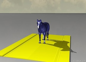 The blue horse is on a yellow road.And green sky
