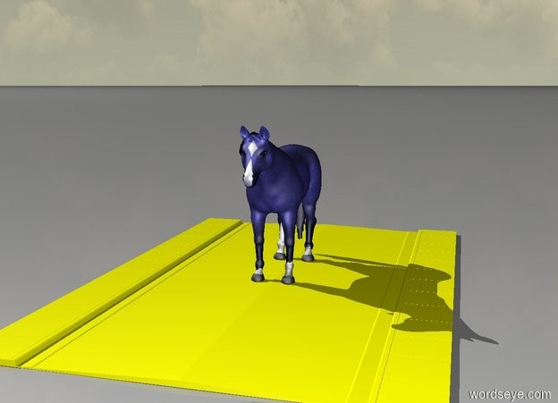 Input text: The blue horse is on a yellow road.And green sky