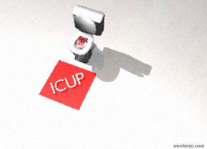 "One enormous red eye is facing up. The eye is 3 feet in a big fish bowl. The eye is -2.6 feet in front of the fish bowl. A tiny red mat is in front of the fish bowl. The red mat is on the ground. White ""ICUP"" is on the mat. ""ICUP"" is facing up."