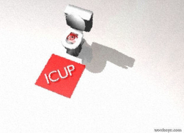 "Input text: One enormous red eye is facing up. The eye is 3 feet in a big fish bowl. The eye is -2.6 feet in front of the fish bowl. A tiny red mat is in front of the fish bowl. The red mat is on the ground. White ""ICUP"" is on the mat. ""ICUP"" is facing up."