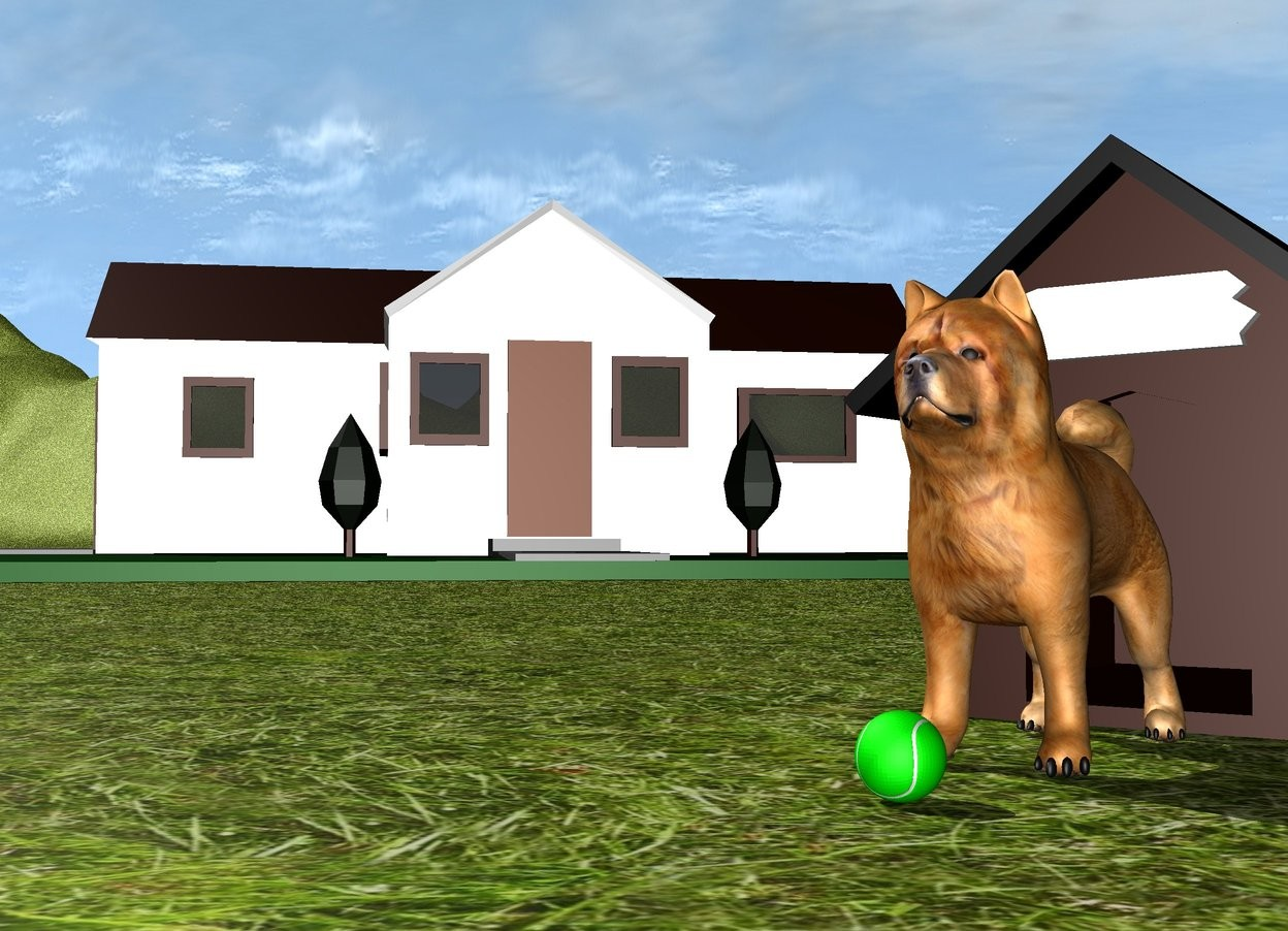 Input text: The dog is in front of the dog house. the ground is grass. there is a house 2 feet behind and 2 feet to the left of the dog house. the house is facing southeast. the ground is unreflective. there is a ball in front of the dog.