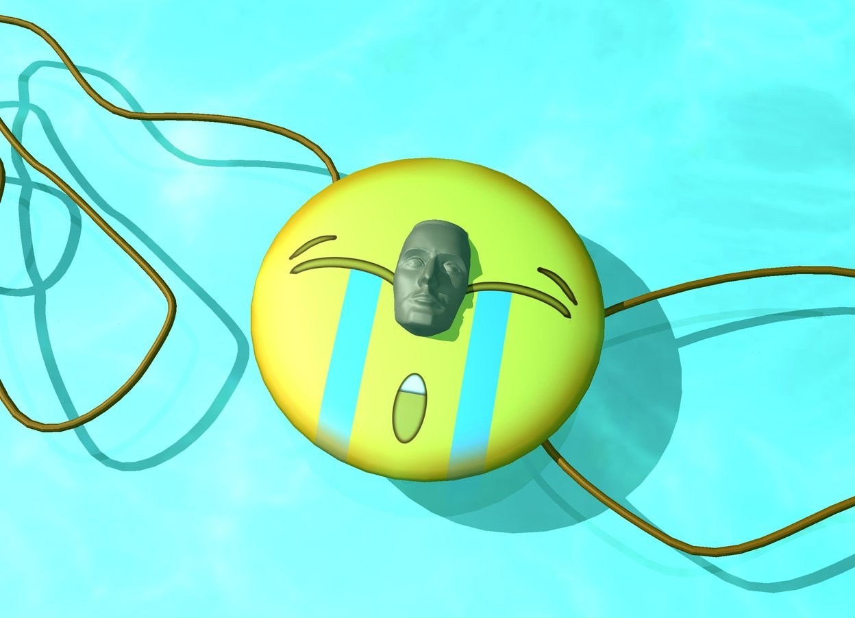 Input text:  the ground is water. the emoji is face up.  the head is -7 inches above the emoji. the head is face up.rope is -5 inches to the left of the emoji.a 2nd rope is -5 inches to the right of the emoji. the ambient light is turquoise. the camera light is dim.