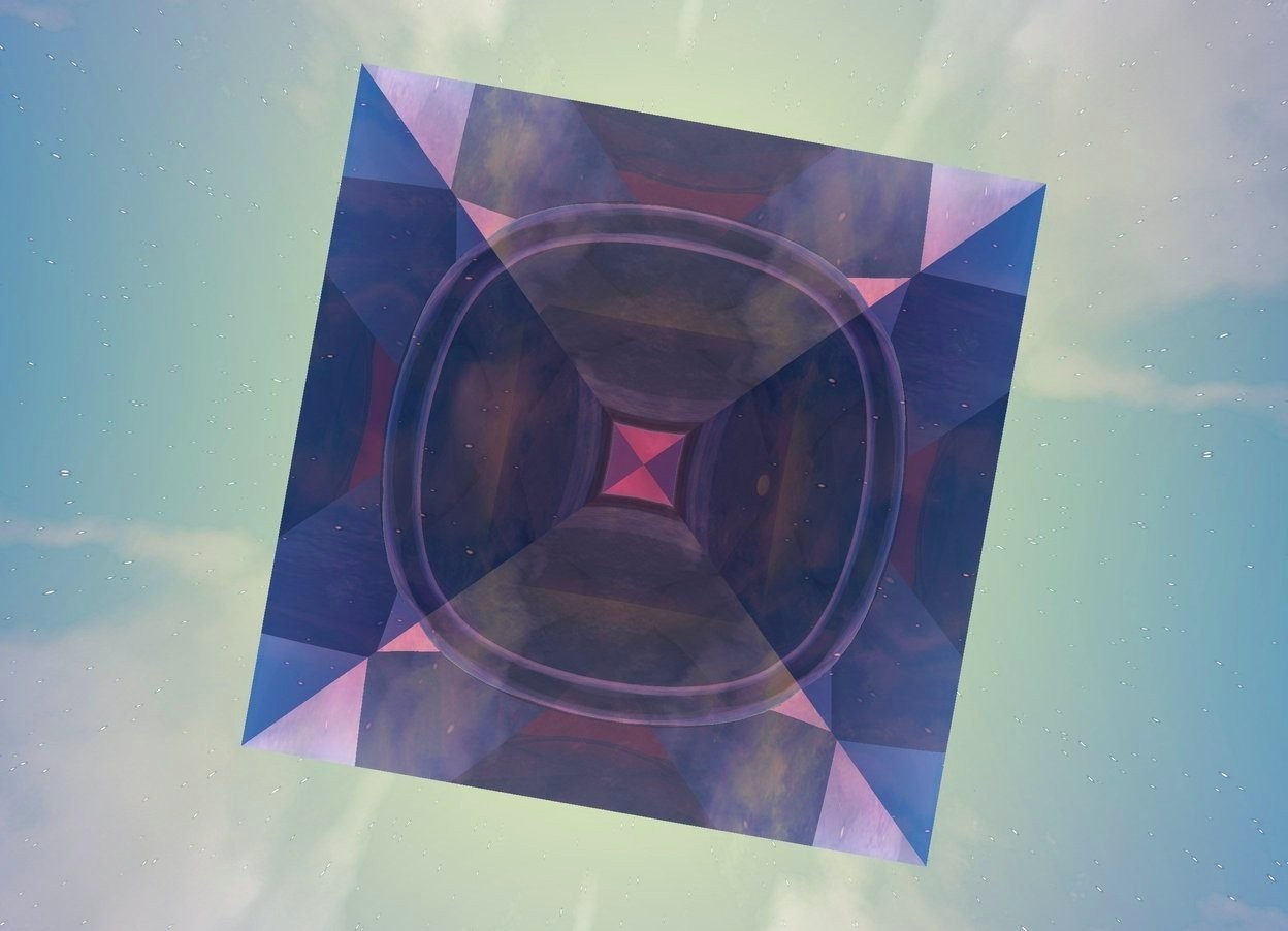 Input text: There is a huge clear pink pyramid 900 feet above the ground. the ground is silver. the camera light is yellow. the ambient light is pink.it is dawn. There is a huge clear red pyramid under the clear pink pyramid. there is a large clear pink sphere above the clear red pyramid. there is a clear yellow pyramid under the clear red pyramid.there is a large clear purple sphere above the clear yellow pyramid. there is a clear turquoise pyramid under the clear yellow pyramid.