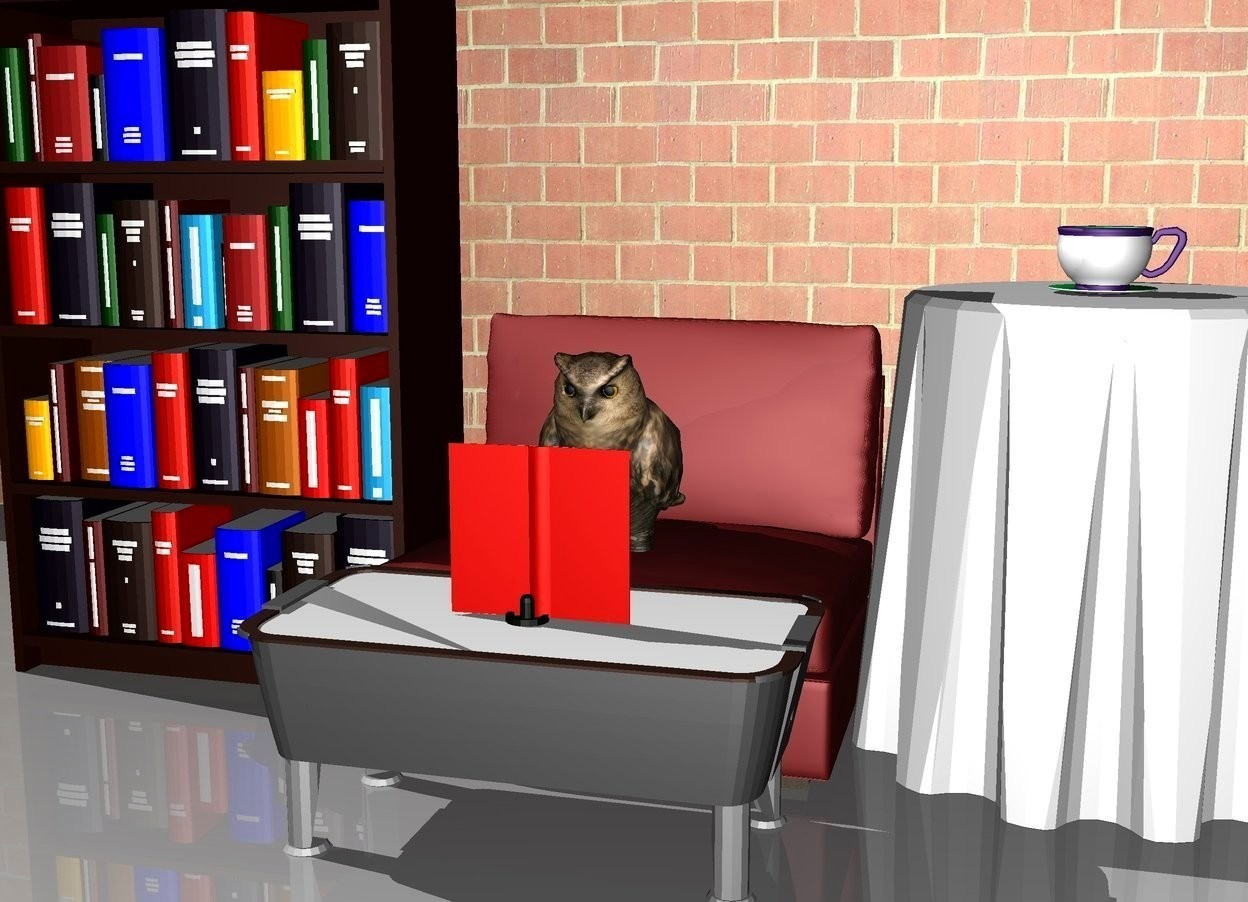 Input text: An owl is on a chair. There is a bookcase on the left of the chair. There is a table on the right of the chair. a large cup is on the table. A huge brick wall is 3 feet behind the chair. there is a small table in front of the chair. there is a book on the small table. the book is facing the owl.