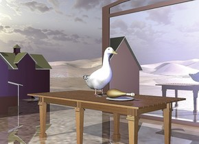 the large duck is on the dining room table. there is a 20 foot wide barn 5 feet behind the table. the barn is dark red.  the ground is shiny.  there is a 10 foot wide mirror 4 feet to the right of the table. it is facing the table. it is 8 feet tall.  a blue light is in front of the duck.  the plate is in front of the duck. the large chicken is on the plate.